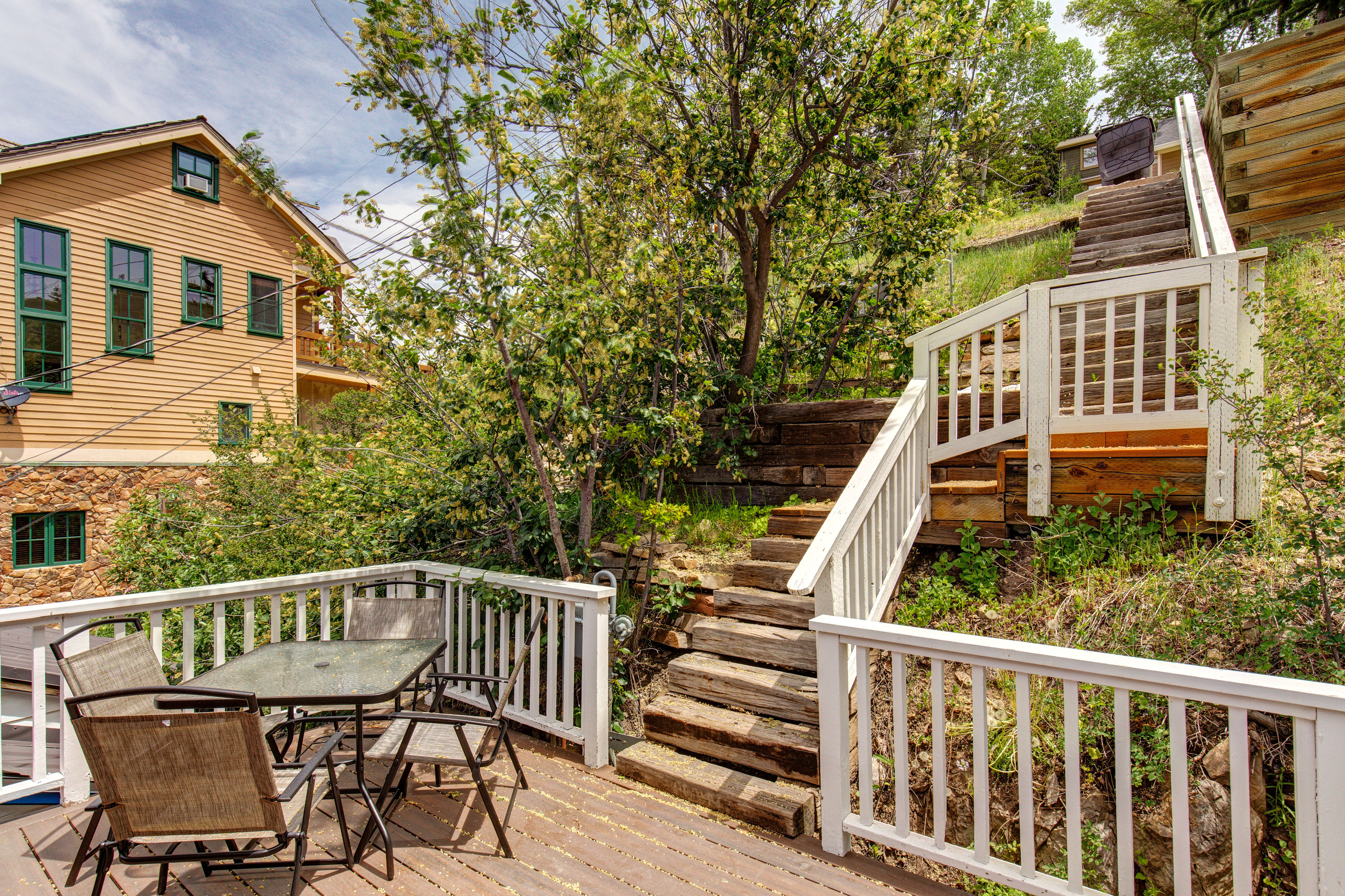 Park City UT Vacation Rental Timber stairs to