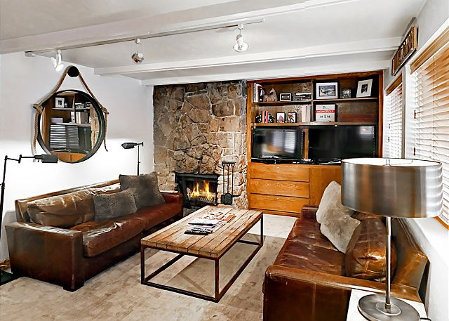 Aspen CO Vacation Rental Deep leather couches,