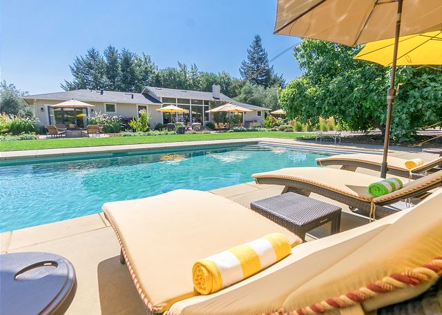 Kenwood CA Vacation Rental Backyard with cabana,