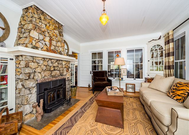 Black Mountain NC Vacation Rental Stone fireplace in