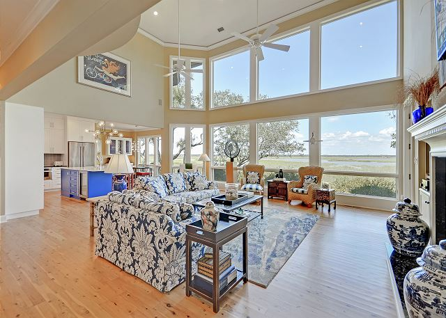 Kiawah Island SC Vacation Rental Double-height windows showcase
