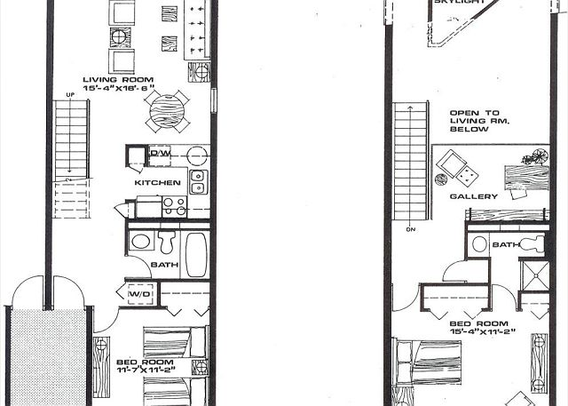 2 bedroom 2 bath  with loft