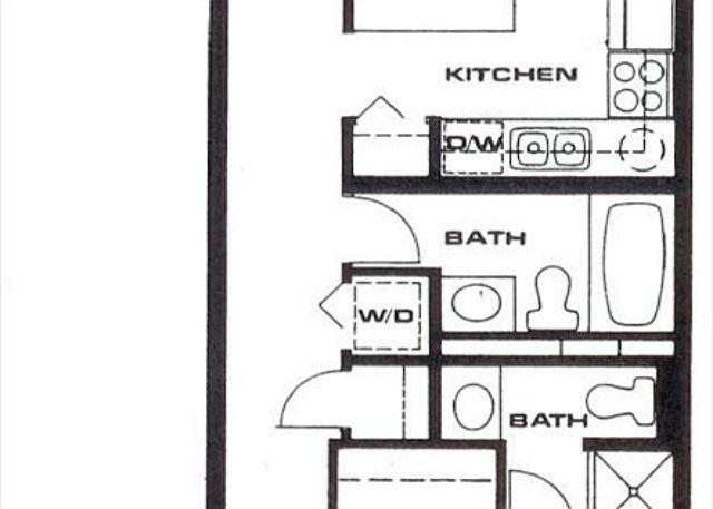 1 bedroom 2 bath floor plan