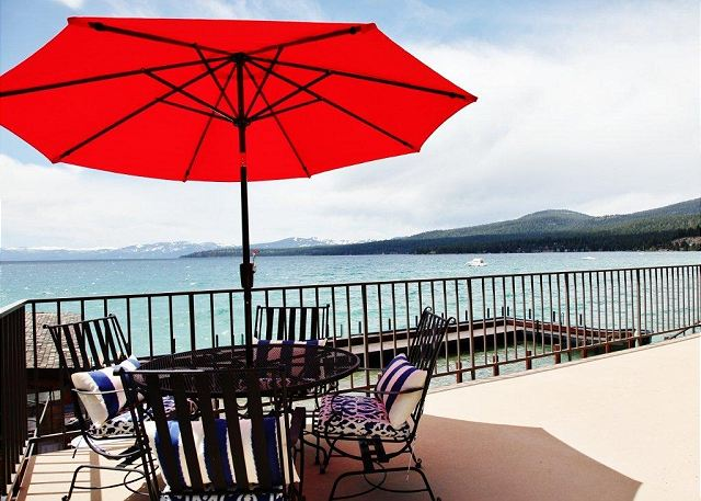 Lake front deck with table/umbrella for #4 use only. Spectacular sunsets.
