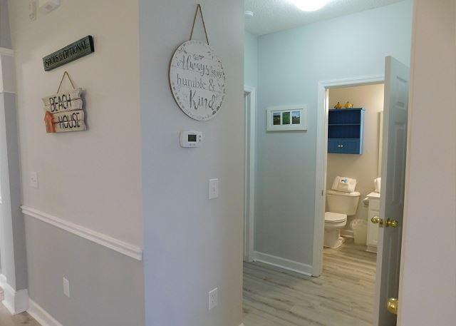 Guest bathroom off of hallway