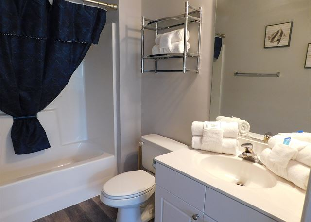 Master Bathroom with a king swing bed