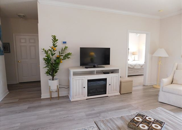 Living Room Flat Screen TV  and Electric Fireplace