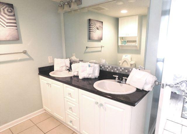 Waterfront Bedroom #1 Ensuite Bathroom with Double Vanity