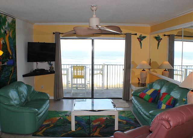 Living Room.  Direct beach front balcony.