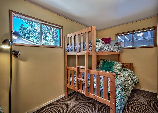 Second bedroom with set of bunk beds where three guests can sleep