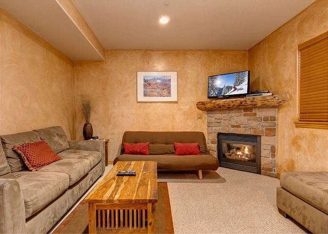 Lower Level Family Room with Fireplace and Sleeper Sofa