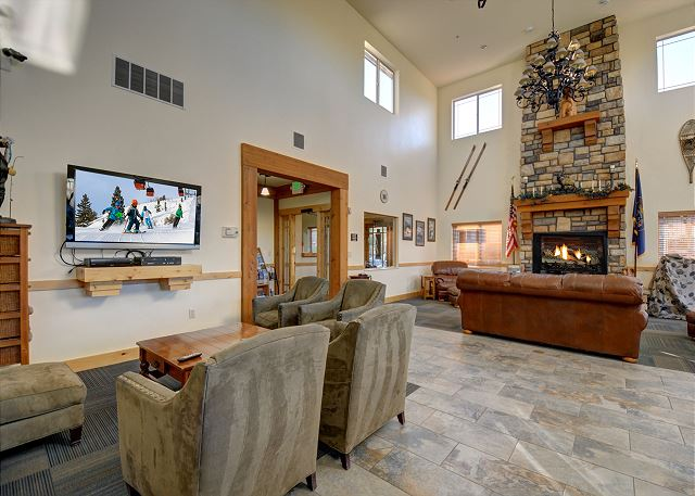 Bear Hollow Village Clubhouse Main Room with TV, Gas Fireplace and Plenty of Seating