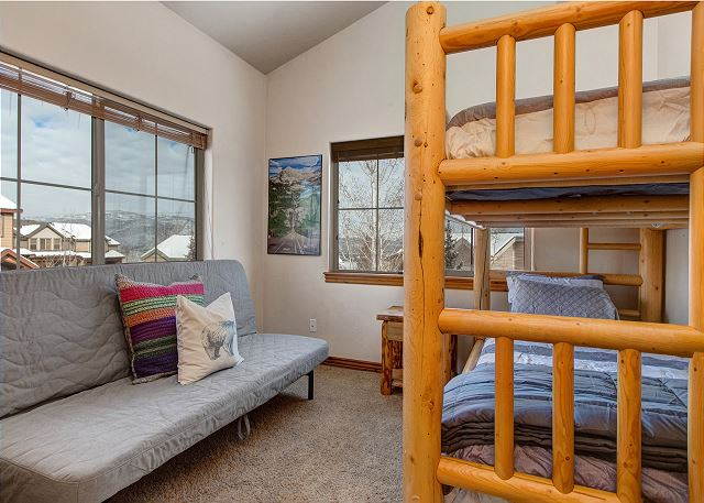 Upstairs Bedroom with Twin-over-Twin Bunk and Full/Queen Futon