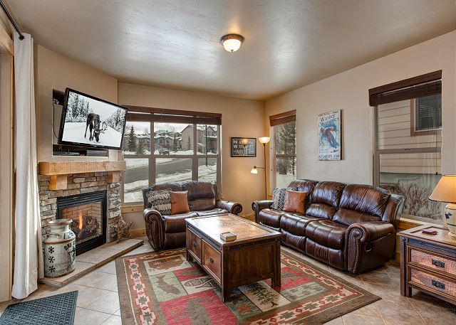 Living Room with Comfortable Seating, Gas Fireplace and TV with Amazon Firestick