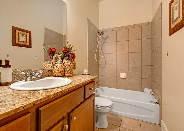 Upstairs shared bathroom: Tub/shower combo--Included shower curtain not pictured.