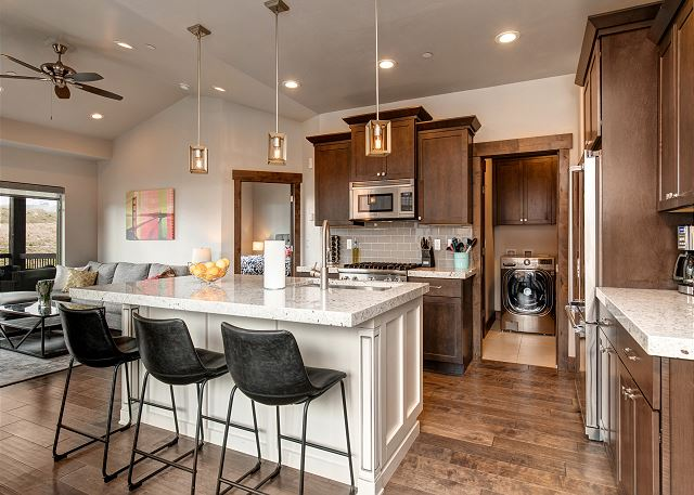 Kitchen with bar seating - main level laundry