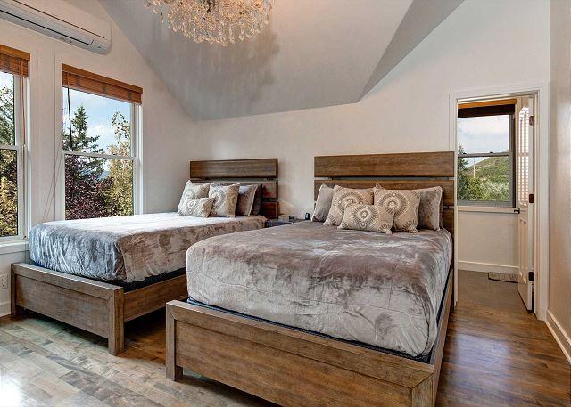 Master Bedroom - Upstairs with TWO Queen Beds + En Suite Bathroom