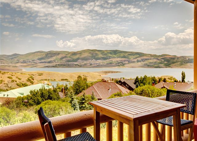 Private Deck with Seating. Views of the Jordanelle Reservoir.
