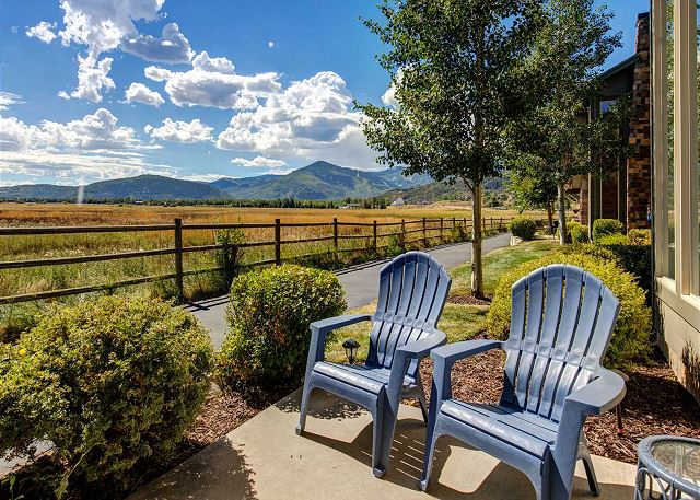 Comfortable Patio right along the Hiking/Biking Trail - Seating and BBQ