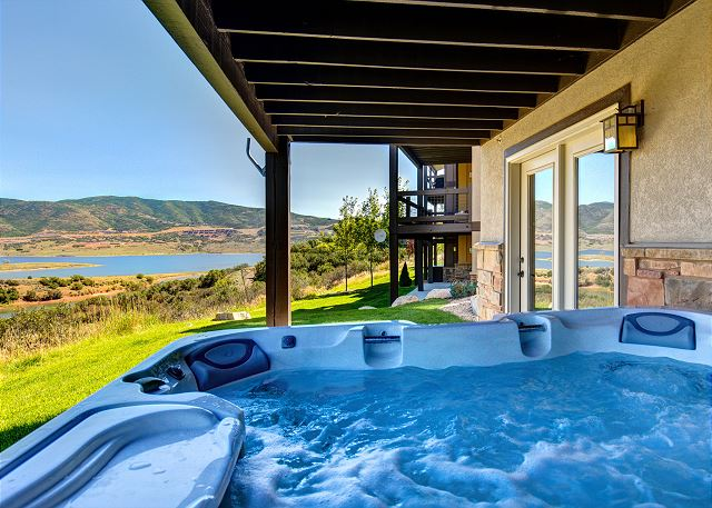 Soak away the day and enjoy the mountain views in this private hot tub