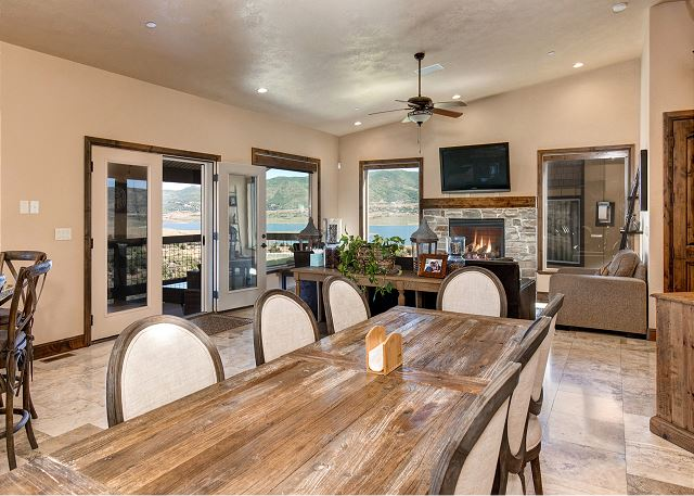 Fully equipped gourmet kitchen with an open dining area and plenty of seating