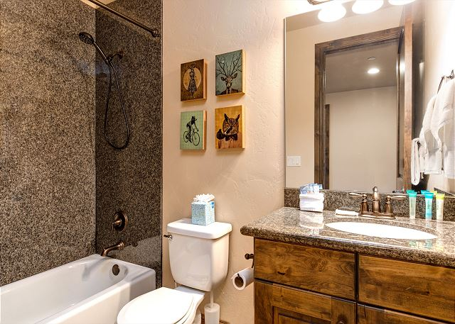 Mid-level full bathroom with tub/shower combo