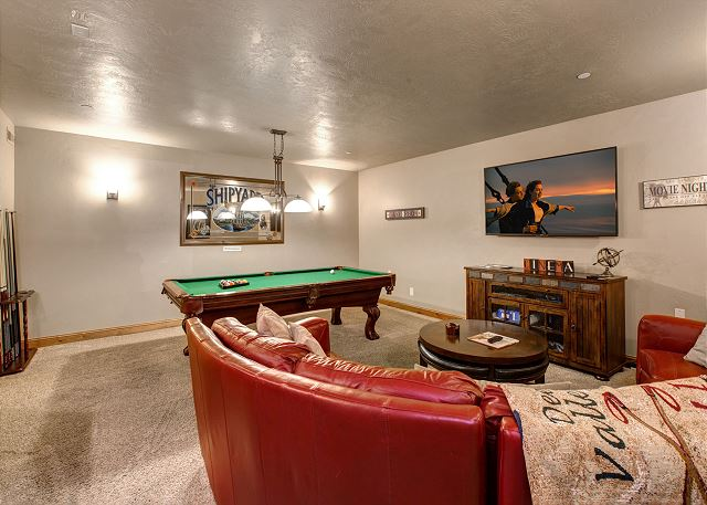 Game Room with Pool Table, Large TV and Gaming System, Bar Area and Plenty of Seating
