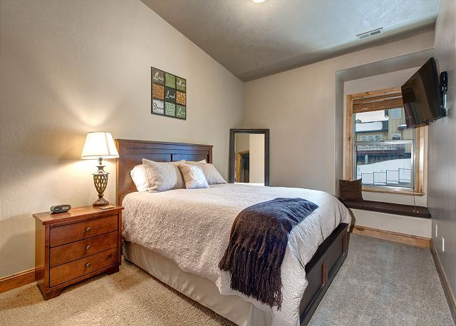 Upstairs Bedroom with Queen Bed and TV