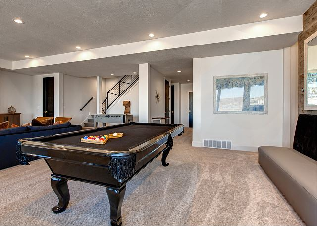 Lower Level Living Room and Game Room with Pool Table, Foosball Table, Game/Dining Table and Plenty of Seating