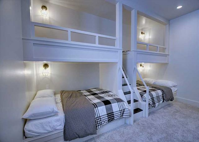 Built in Bunks! TWO twin over full bunk beds with stairs. --lower level.
