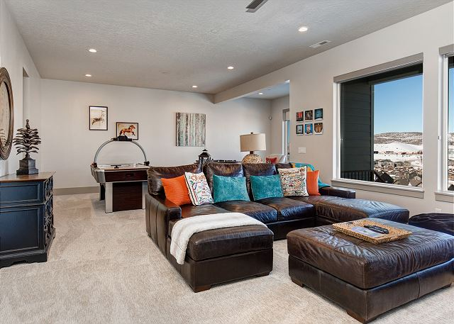 Lower Level Family Room with LARGE Sectional Sofa, Gas Fire Place, Large TV, Air Hockey and Foosball