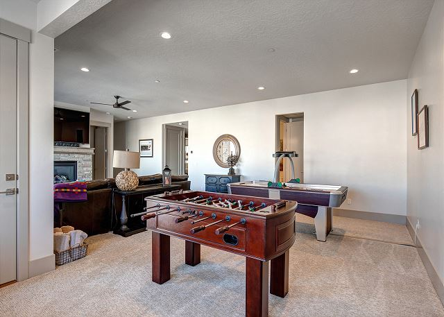 Lower Level Family Room with Air Hockey and Foosball