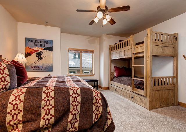 Guest Bedroom with King Bed and Twin-over-Twin Bunk, Twin Trundle and Twin Air Mattress