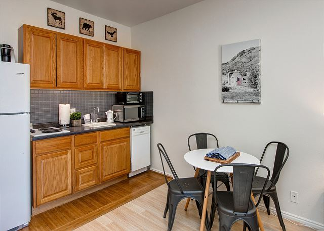 Kitchen with Full Refrigerator and Dishwasher + Keurig