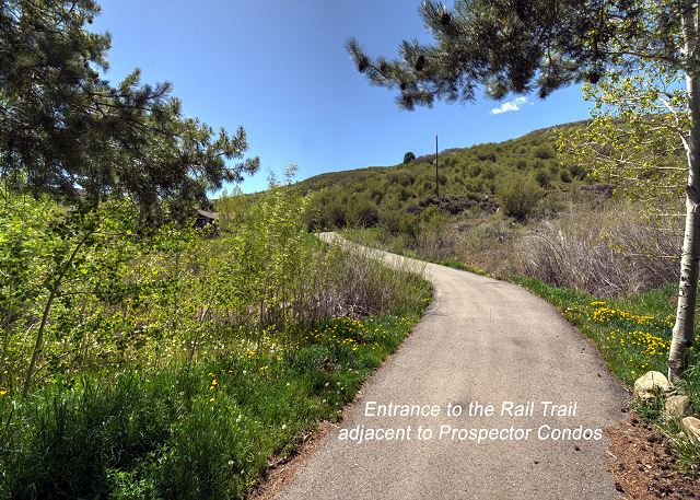 Entrance to the Rail Trail is adjacent to the Prospector Condos and is great for Hiking, Biking or Snow Shoeing