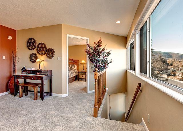 Living Room Desk and Entrance to Master Bedroom