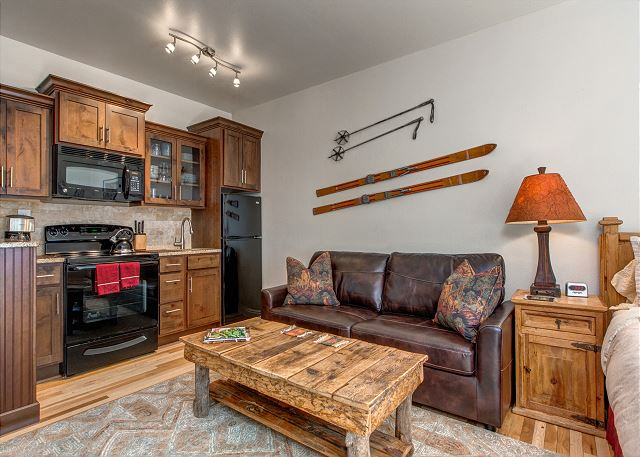 Prospector 804 - Spacious Studio with Full Kitchen, Queen Bed, Sleeper Sofa, Full Bathroom and In-Home Washer/Dryer