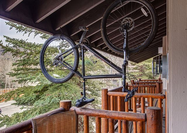 Balcony with Seating and TWO Mountain Bikes for your use. Ride the Rail Trail (Google Rail Trail). The Entrance is Adjacent to the Condo