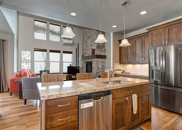 The fully-equipped kitchen, also on the main level, has everything you'll need to fix a meal and eat in