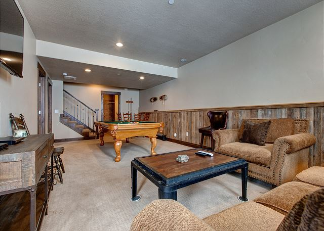 "Lower Level Den/Game Room with Pool Table and 65"" HD TV"