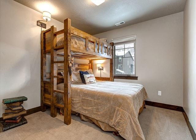Upstairs Guest Bedroom with Twin over Queen Bunk