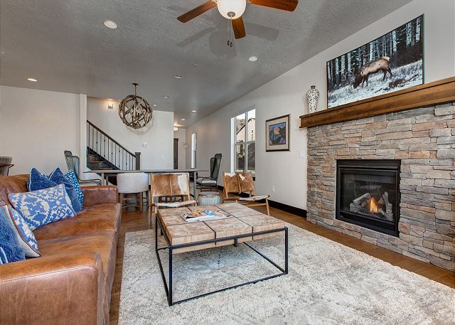 Living Room with TV and Gas Fire Place