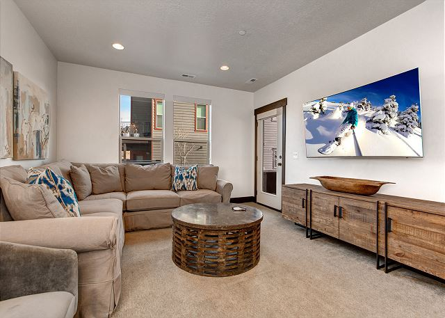 Lower Level Family Room with TV, Sleeper Sofa and Gaming System