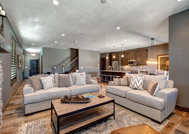 Living Room with Sleeper Sofa, Fire Place and Smart TV with Dish Satellite