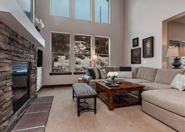 Main Living Room: Tall windows for great light and views of the private mountain side