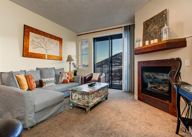 "Main Living Room - Queen sleeper sofa, Patio with Amazing Views, Gas Fireplace, 65"" HD TV"