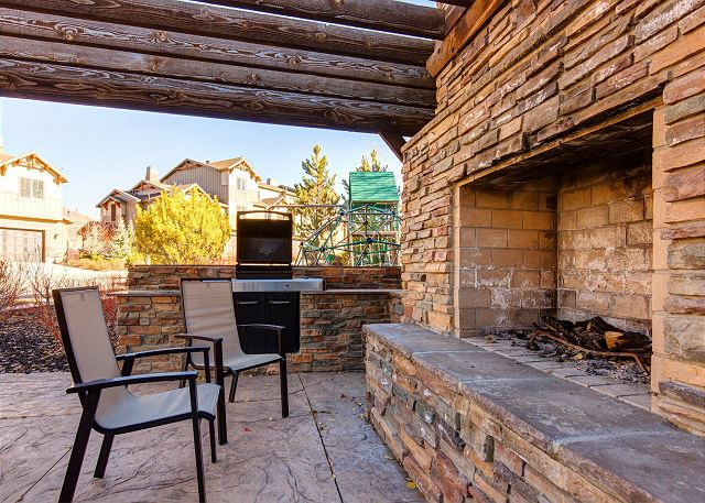 Community outdoor BBQ and wood burning fire place