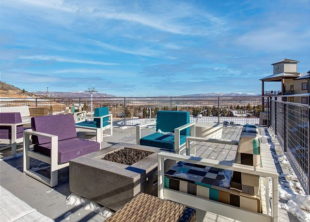 The terrace is perfect for gathering with family and friends while taking in the valley views!