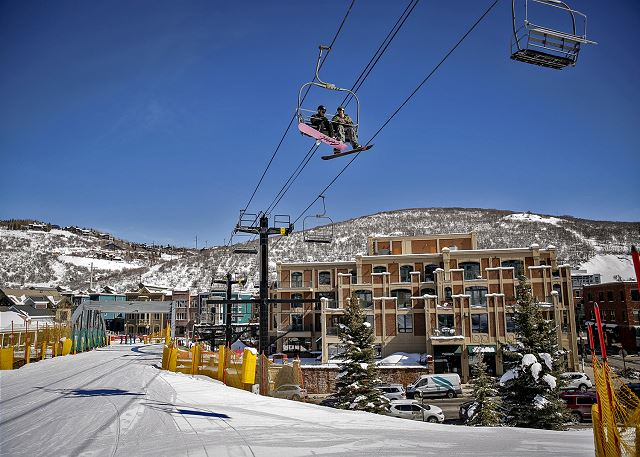 Park City's Town Lift. Ski in and out of Main Street.