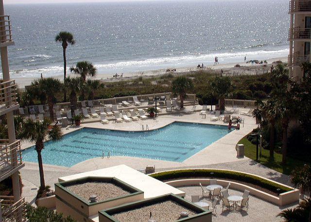 Villamare Complex - Pool & Ocean Beyond Landscaped Grounds